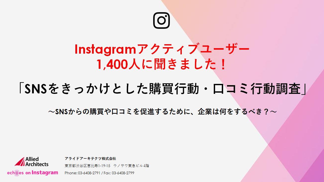 Instagramアクティブユーザー1,400人に聞きました!「SNSをきっかけとした購買行動・口コミ行動調査」~SNSからの購買や口コミを促進するために、企業は何をするべき?~