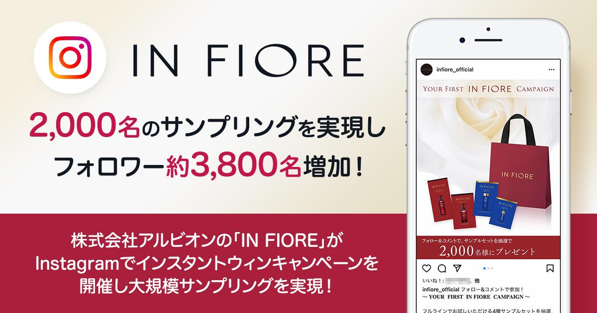 【Instagram上で2,000名の大量サンプリング施策】株式会社アルビオンの「IN FIORE」が、Instagramでインスタントウィンキャンペーンを開催!大規模サンプリングを実現した取組とその効果とは?