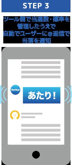step3 ツール側で当選数・確率を管理したうえで自動でユーザーに@返信で当落を通知 Twitter画像